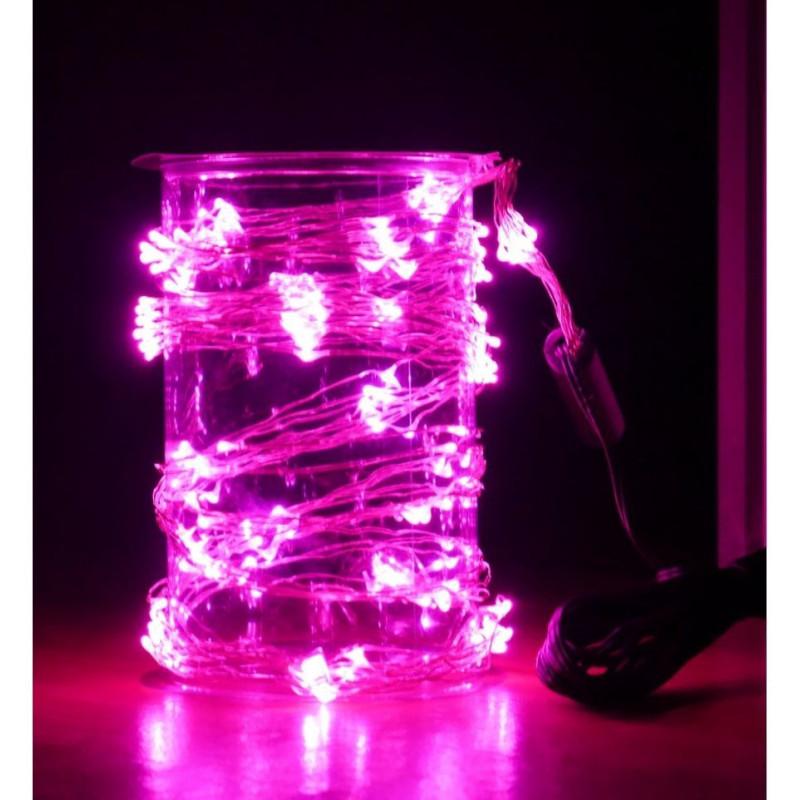 Guirlande intérieure 80 lucioles multicolores fil transparent